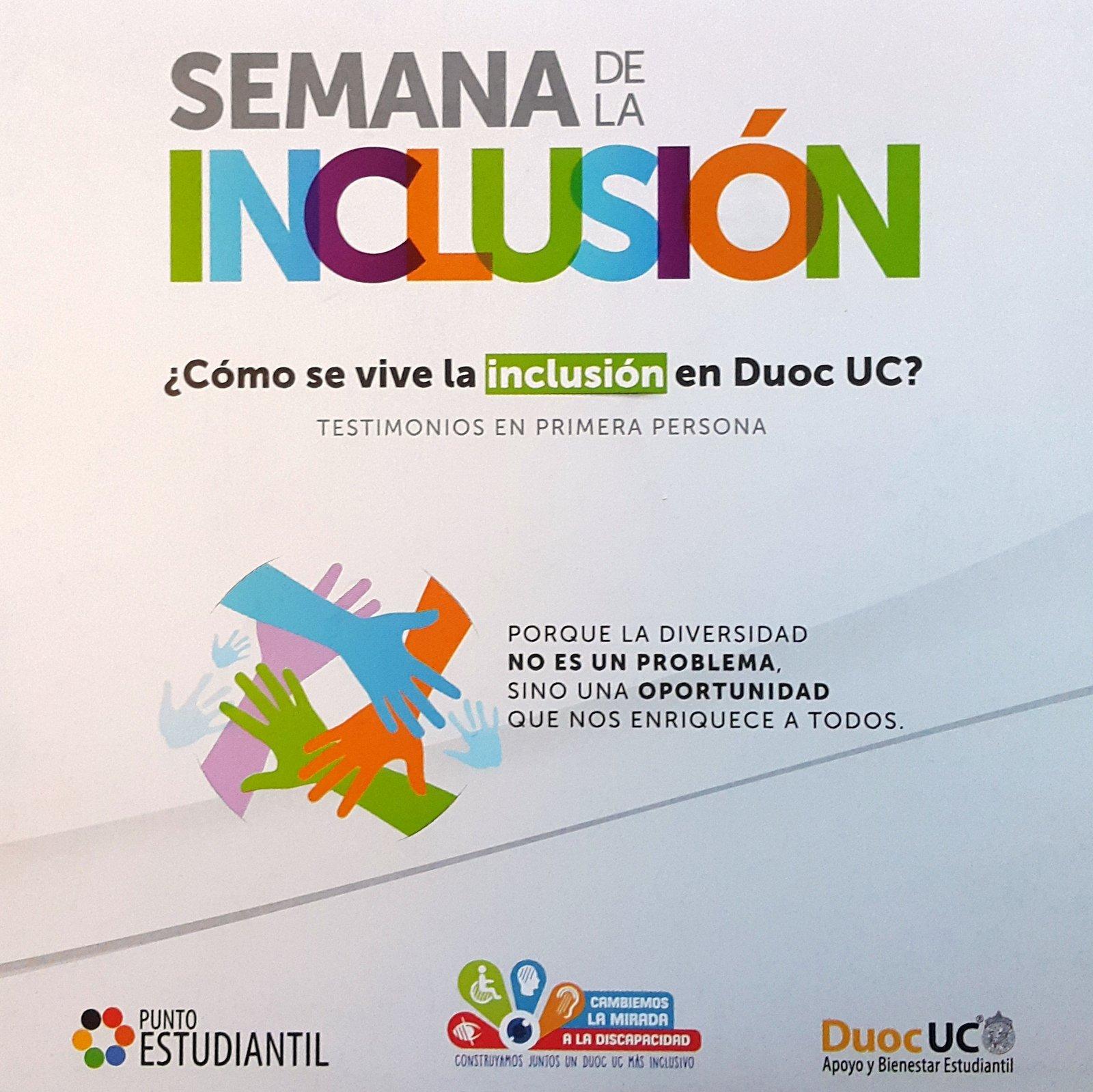 Flyer semana de la inclusión DuocUC