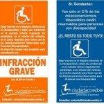 Volantes para fomentar el correcto uso de los estacionamientos reservados para personas con discapacidad.