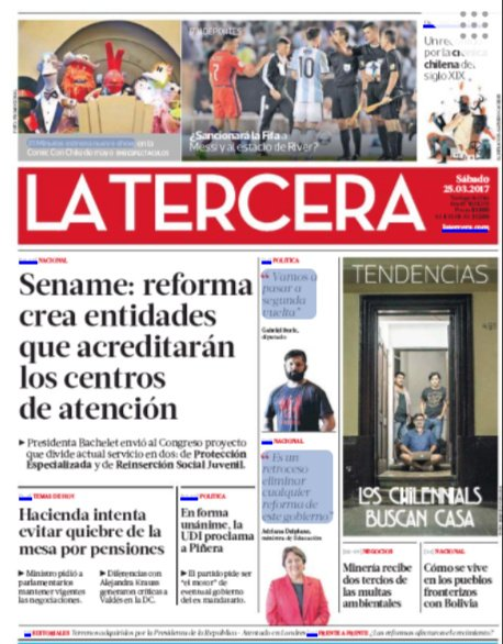Portada La Tercera 25-03-2017