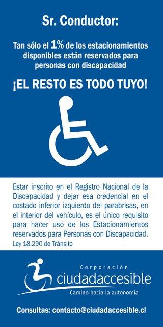 Volante Azul sobre estacionamientos para personas con discapacidad