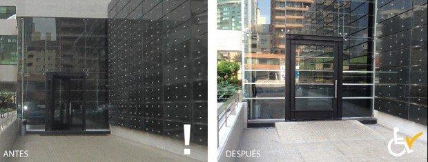 Antes y después acceso a edificio Apoquindo 6410