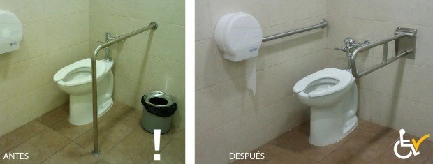 Antes y después cambio barra en Baño accesible Clinica Las Condes