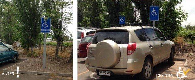 Antes y después Corrección términos en señalización estacionamientos Calera de Tango