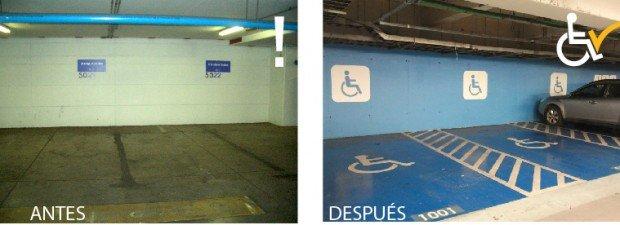 Antes y después Arreglo estacionamientos Clinica Las Condes