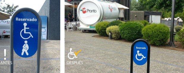 Antes y después cambio señalización Estacionamiento Copec