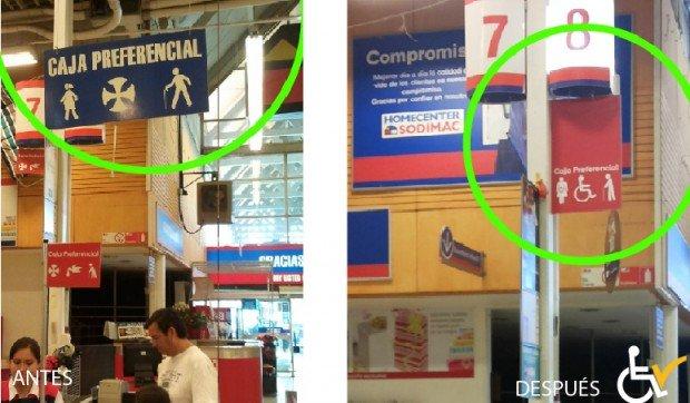 Antes y después cambio señalización Homecenter