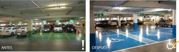 Antes y Después  Jumbo Alto Las Condes arreglo estacionamiento