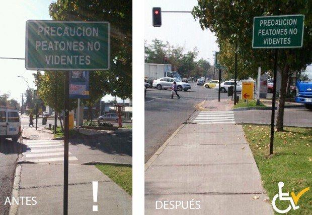 Antes y después Retiro señalización en vereda Las Hualtatas