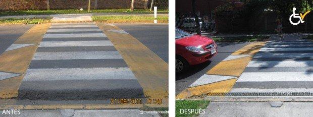 Antes y Después Nuestra señora del rosario arreglo cruce peatonal