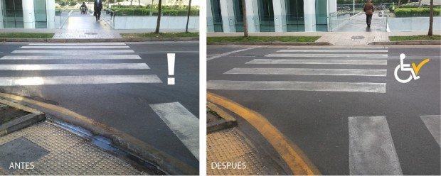 Antes y Después Nuestra Sra. de los angeles con Bernardita rebaje en cruce peatonal