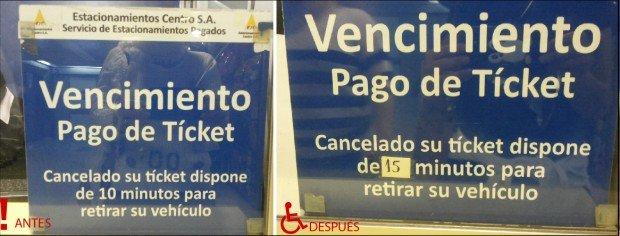 Antes y Después tiempo abandono estacionamiento de diez a quince minutos