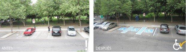 Antes y después Estacionamiento Punto verde Las Condes