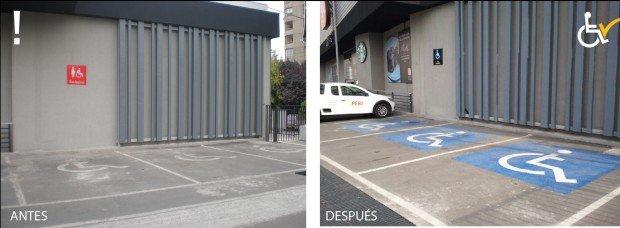 Antes y después Estacionamiento Unimarc Manquehue Norte