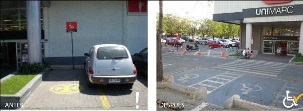 Antes y después Estacionamiento Unimarc Vitacura