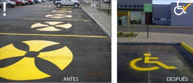 Antes y después corrección demarcación piso estacionamientos aeropuerto Punta Arenas