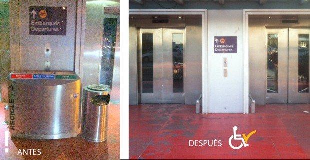 Antes y después retiro basurero frente a botonera ascensor aeropuero AMB