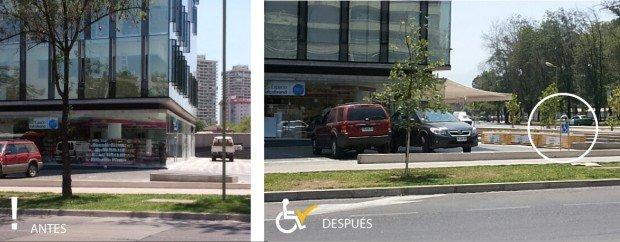 Antes y después Estacionamiento calle Patagonia, frente Plaza Los Dominicos