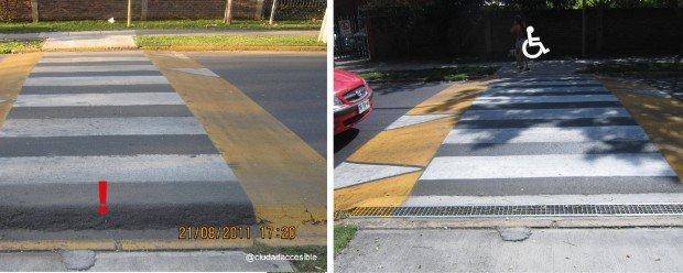 Antes y después Cruce de inaccesible en accesible