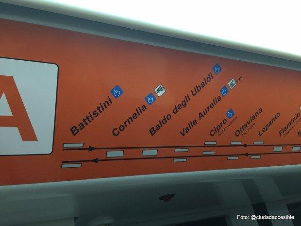 Señalización interior de estaciones accesibles - metro Roma