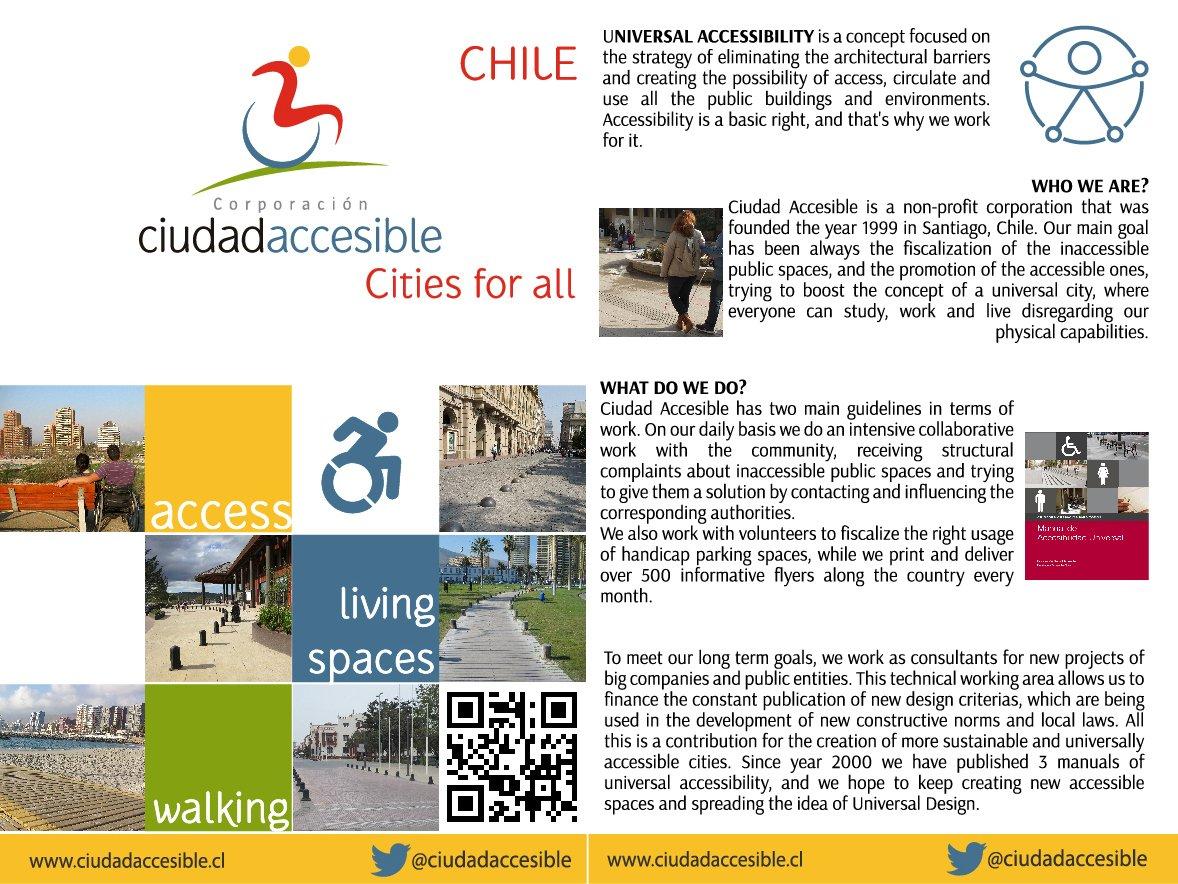 Volante en inglés sobre la corporación ciudad accesible