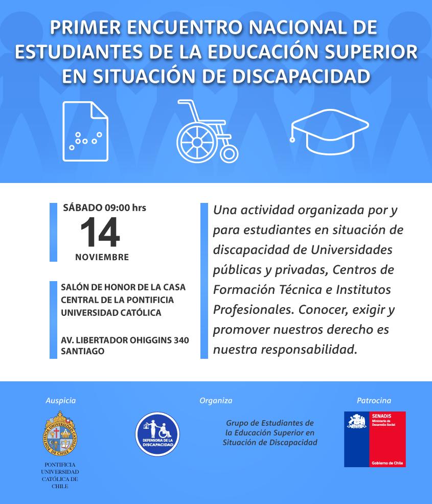 invitación Primer Encuentro Nacional de Estudiantes en situación de discapacidad de la Educación Superior