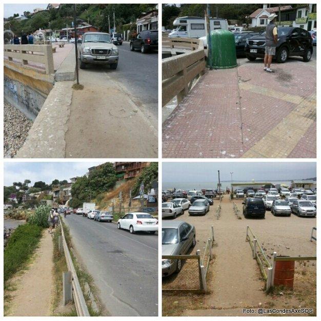 circulaciones peatonales en concón con muchos obstáculos