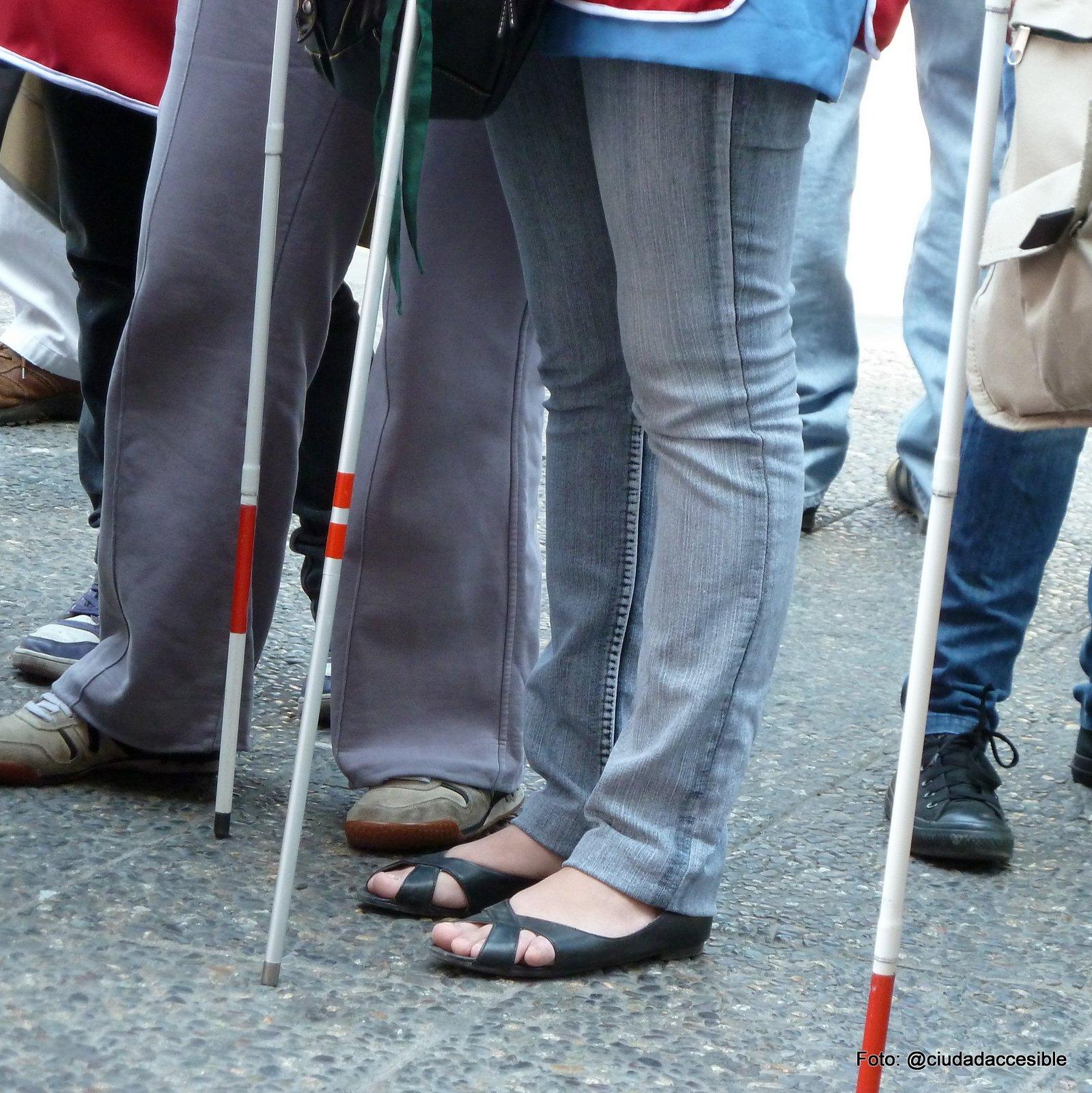 Varias personas ciegas con sus bastones