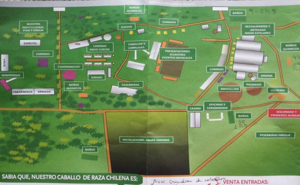 """Plano General del evento 2015 """"Semana de la Chilenidad"""" no entrega ninguna información sobre la accesibilidad del lugar"""
