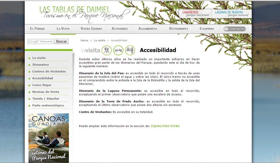 Información que se publica en páginas web respecto a la accesibilidad de un parque