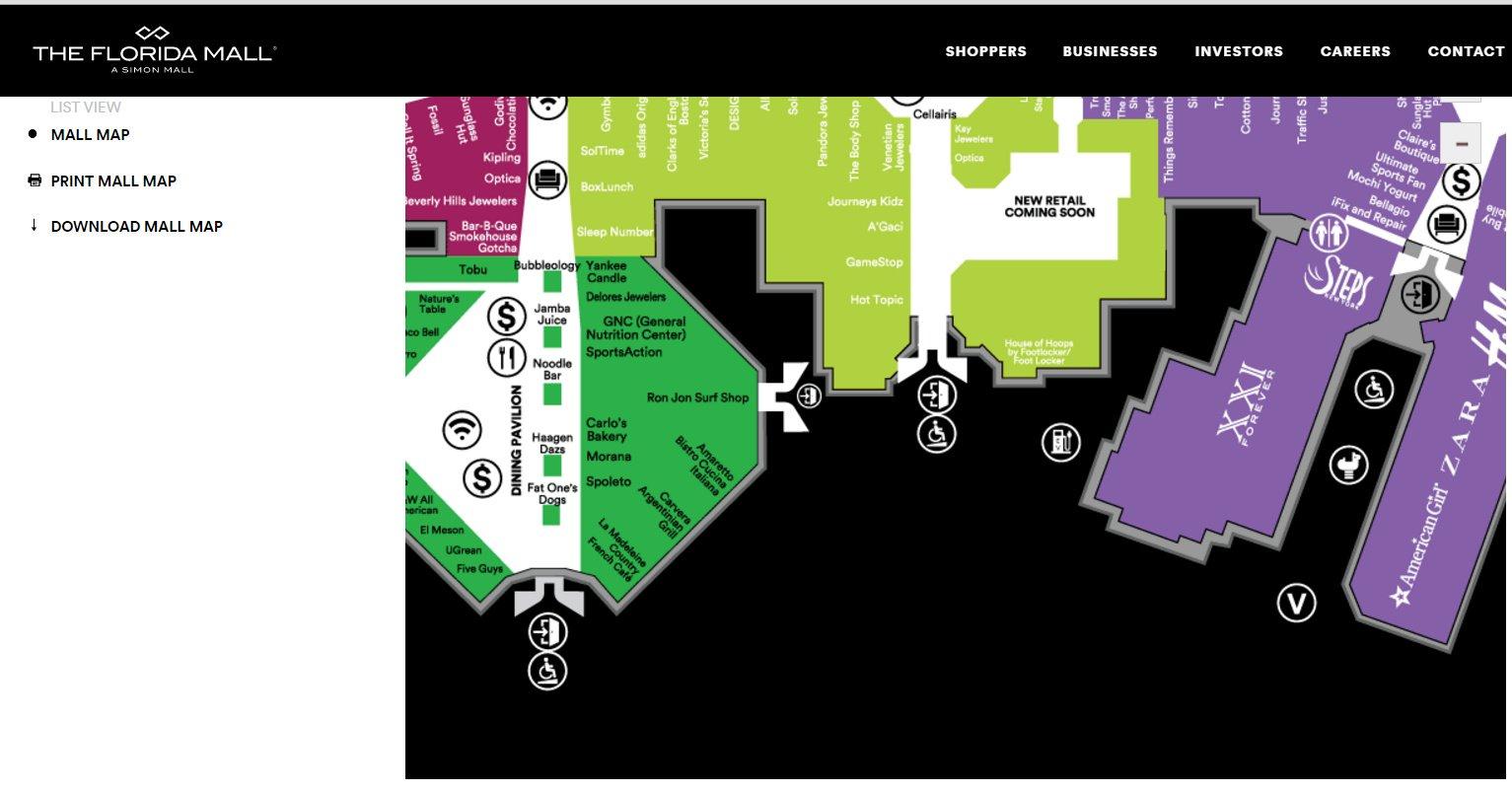 Impresión de pantalla: Mapa general que incorpora informacion de accesibilidad | The Florida Mall