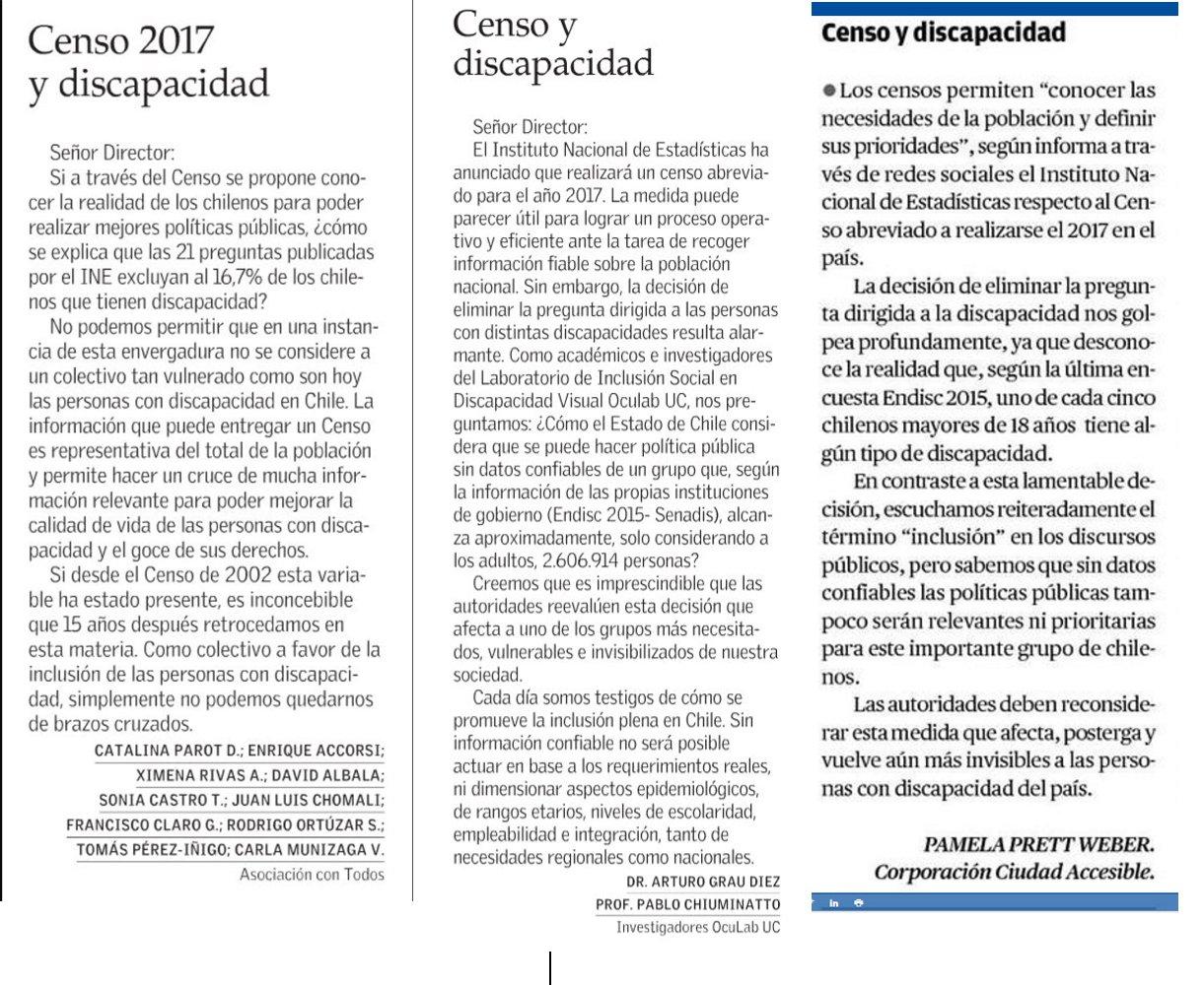 3 cartas publicadas en la prensa sobre el tema censo y exclusión de discapacidad