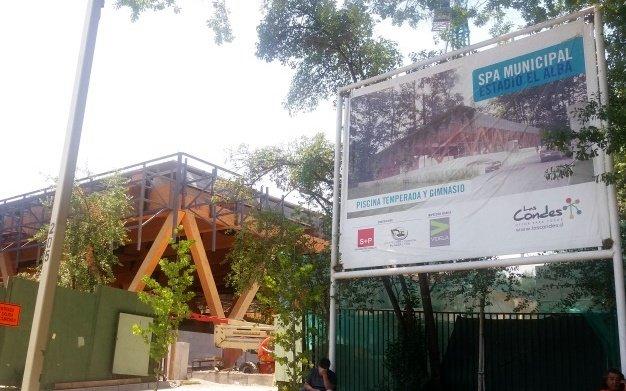 Letrero anunciando proyecto de Estadio El Alba