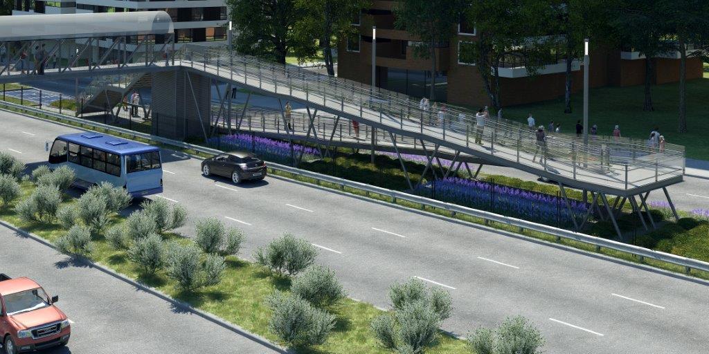 proyecto pasarela parque arauco con rampa