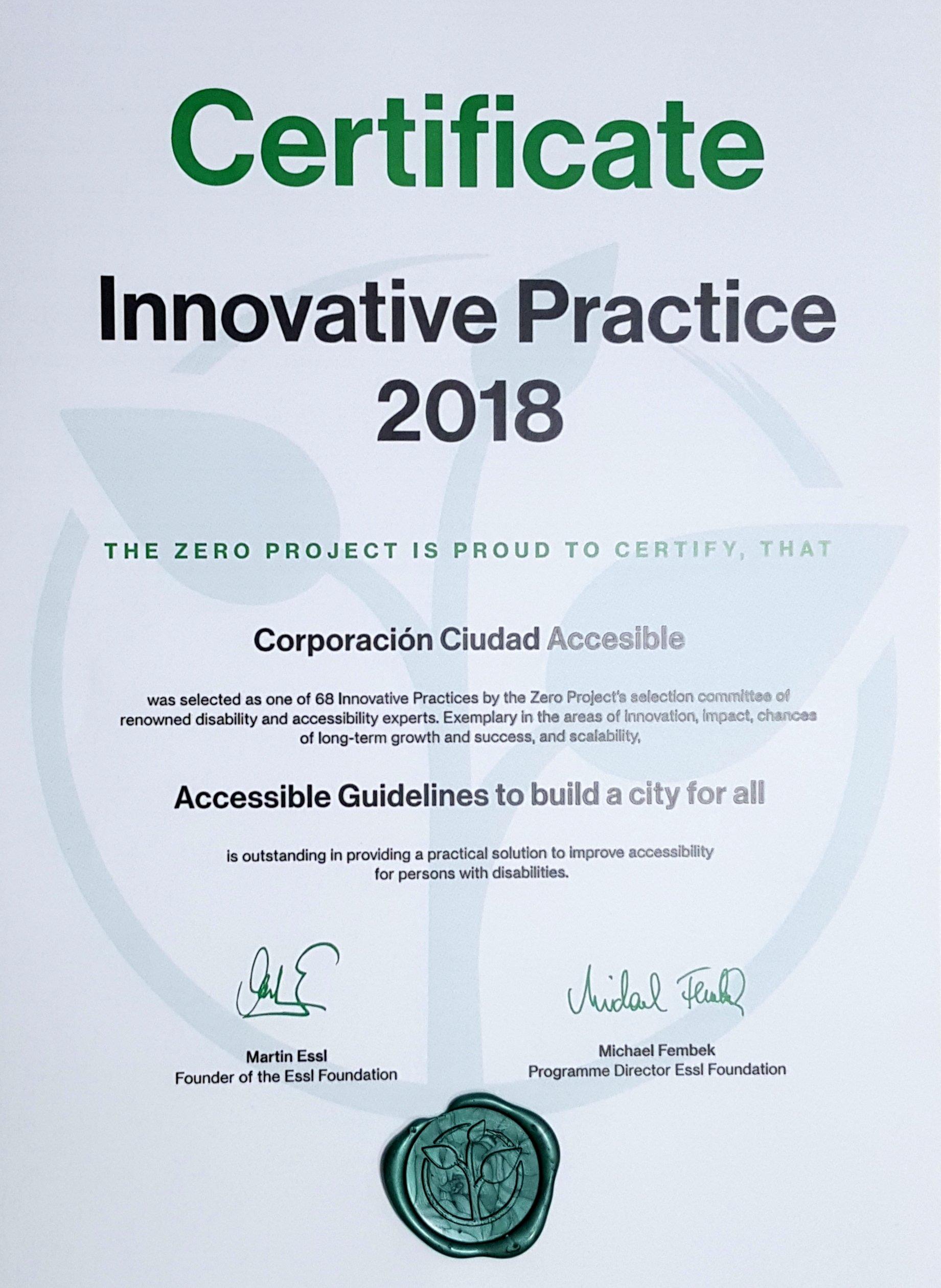 Certificado práctica innovadora en accesibilidad