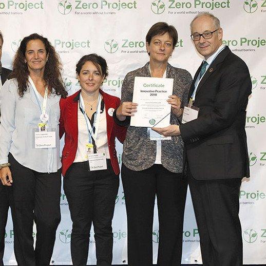 Andrea Legarreta, Kristine France, Pamela Prett y Martin Essl en la premiacion zero project 2018