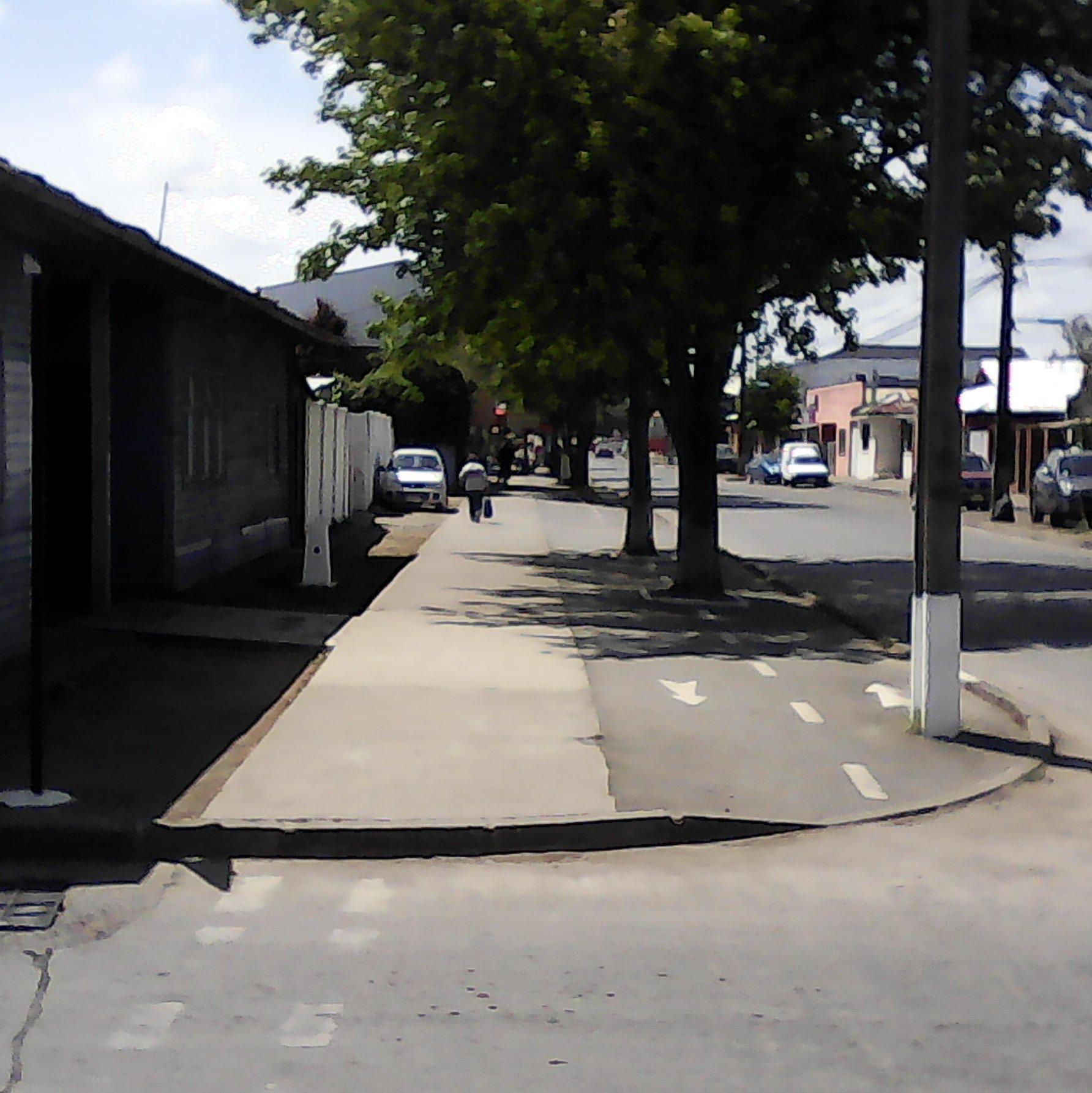 Comuna de San Carlos, se muestra ciclovía diferenciada, sin embargo la vereda carece de cruce peatonal rebajado