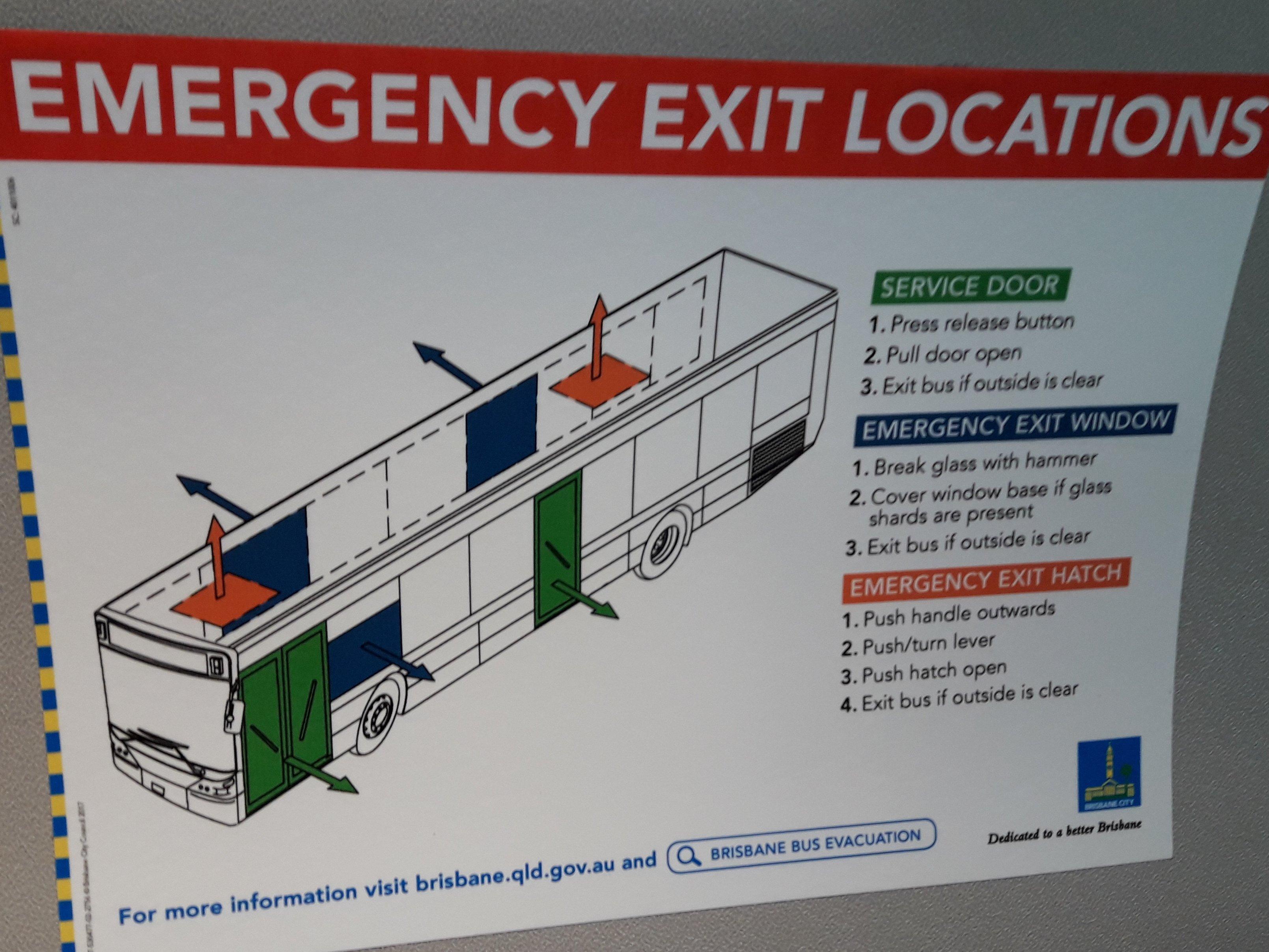Diagrama de ubicación salidas de emergencia publicado al interior del bus