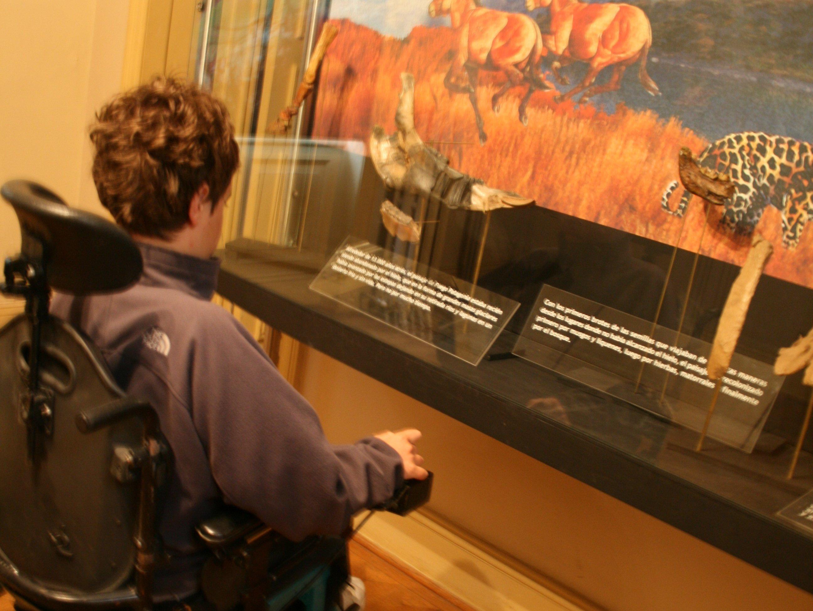 persona en silla de ruedas leyendo descripción de una exhibición en museo de magallanes