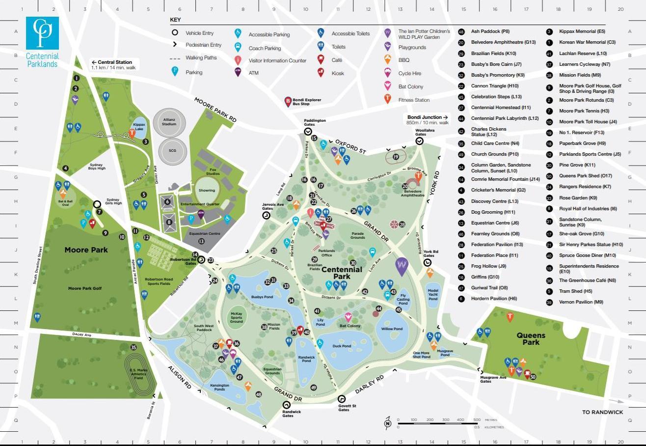 página web que indica información de actividades y servicios en un parque