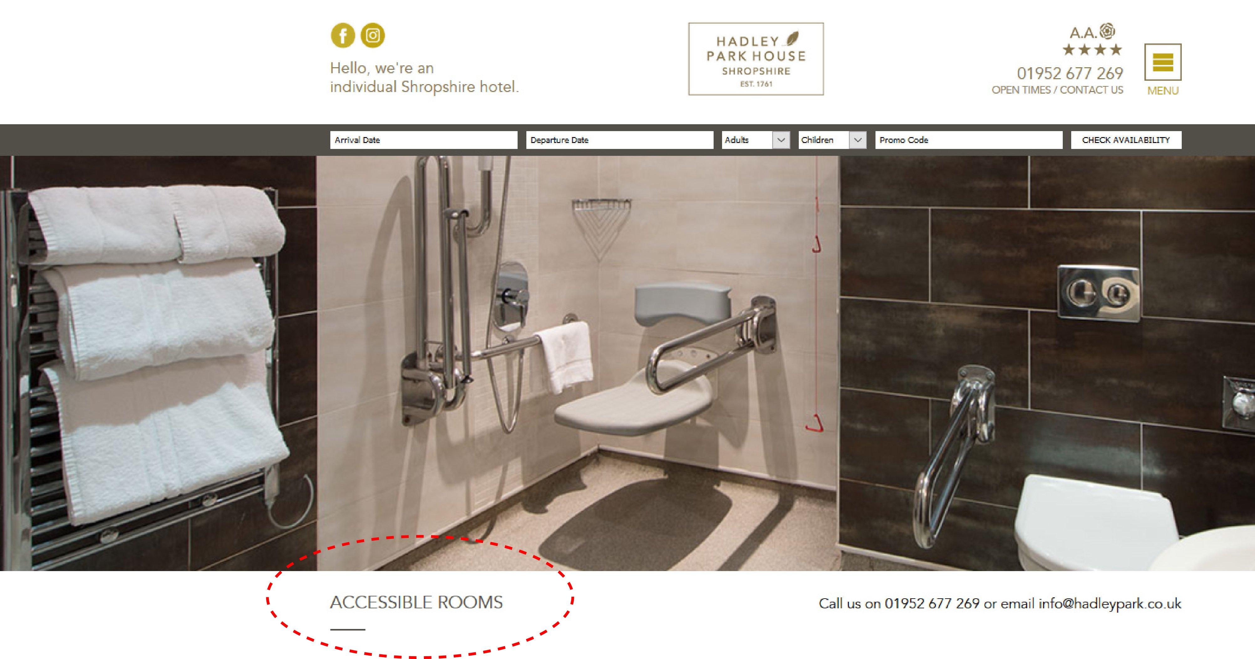 accesibilidad en hotel hadley park