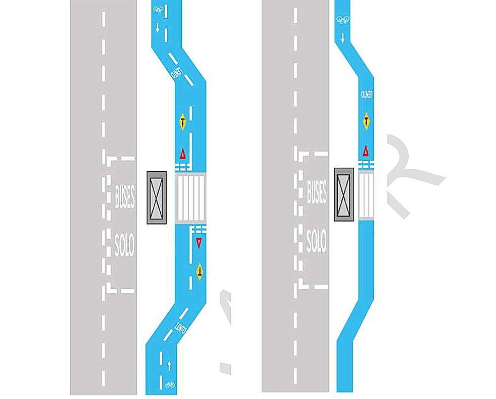 6.2.4.9 Demarcación de Ciclovía en Parada de Transporte Público por atrás