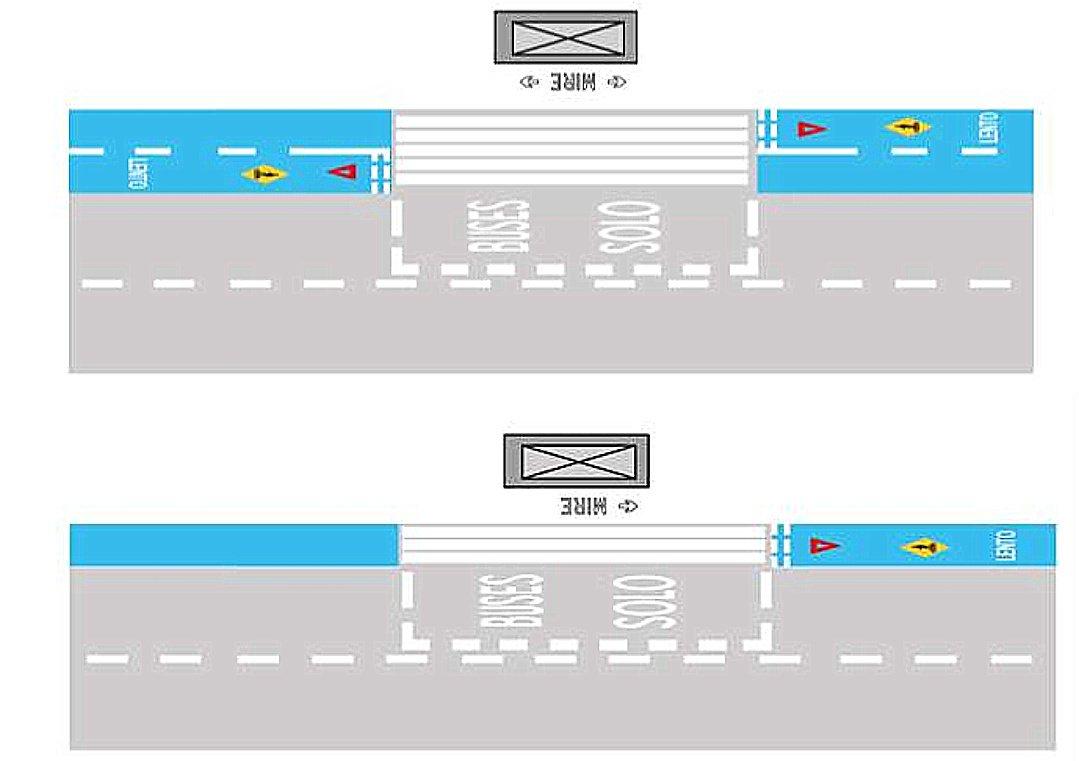 6.2.4.9 Demarcación de Ciclovía en Parada de Transporte Público