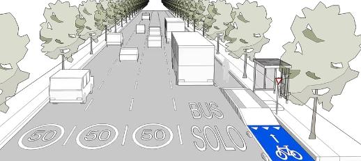 propuesta ciclovía sobre andén de espera en paradero