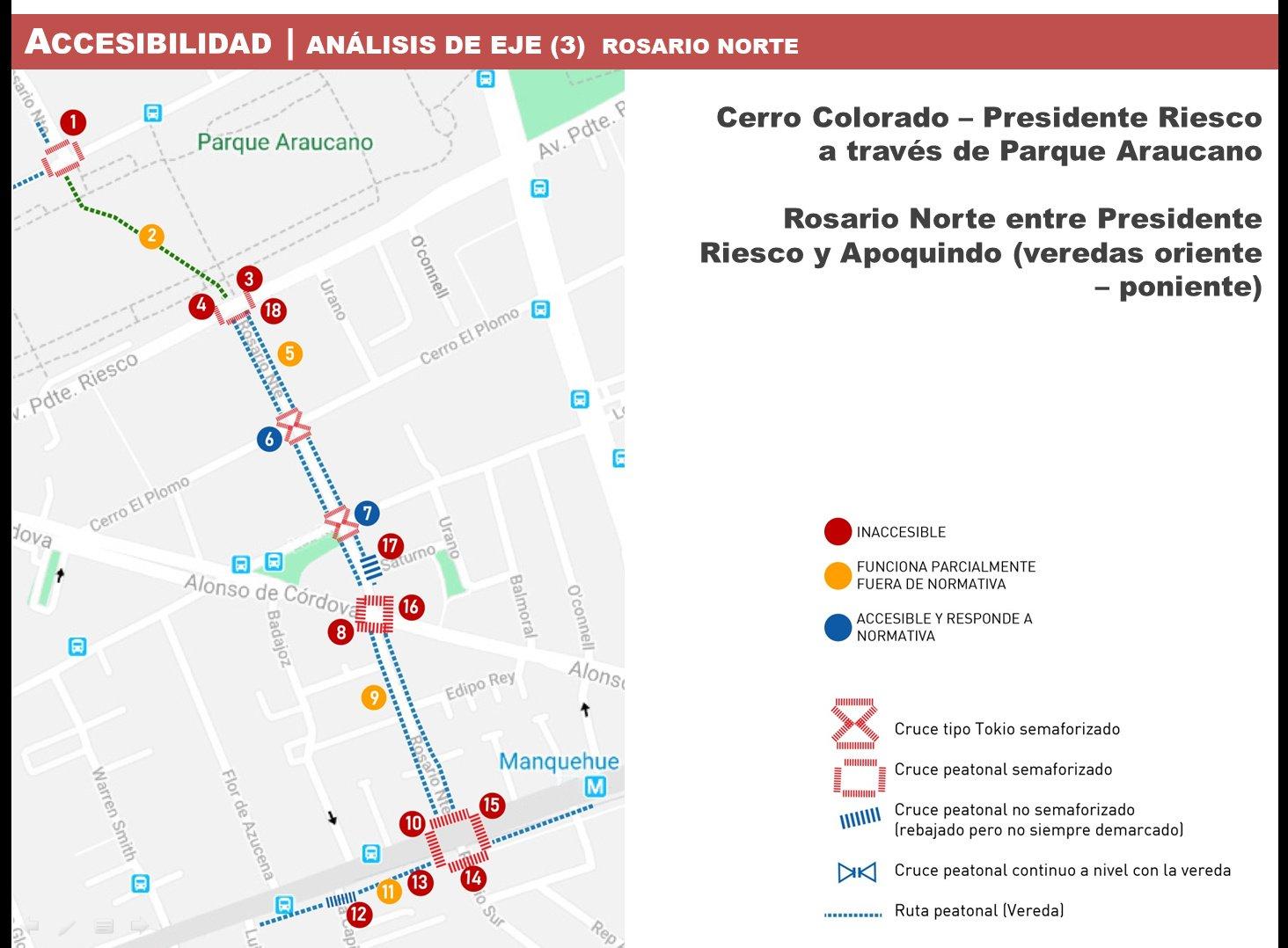 plano de una calle donde se grafican en puntos de colores las condiciones de accesibilidad de veredas, cruces y otros elementos