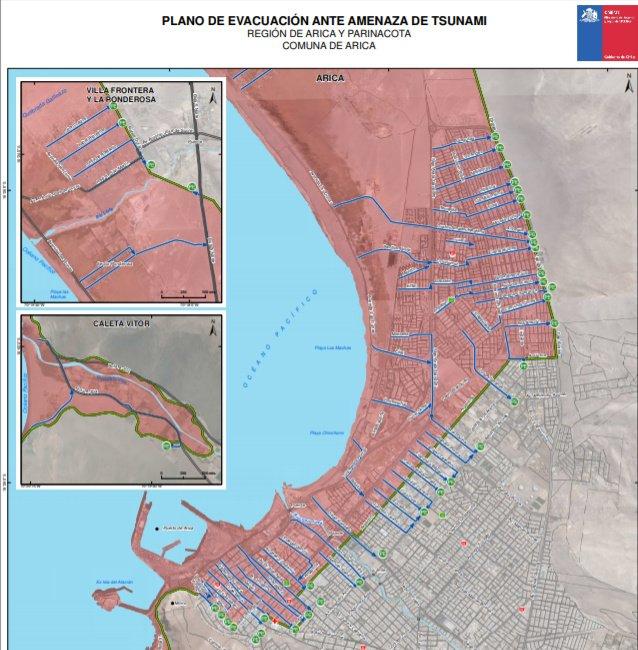 Plano de evacuación ante amenaza de tsunamis región de Arica y Parinacota