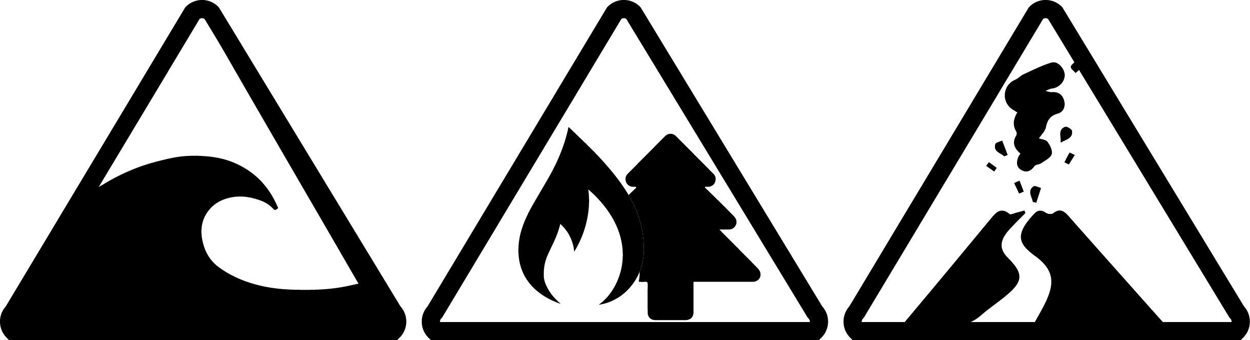 iconos emergencia tsunami incendio forestal y erupción