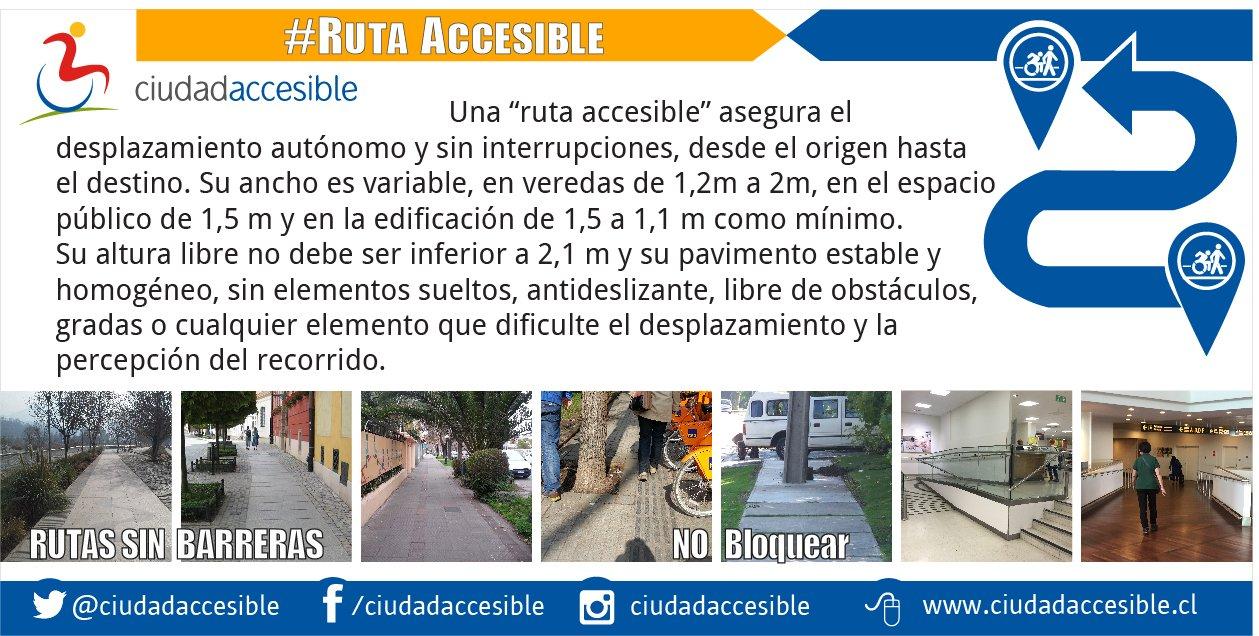 Volante de ruta accesible que indica las condiciones en veredas y edificación