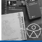 carátulas de tres manuales d eaccesibilidad y el símbolo de accesibilidad