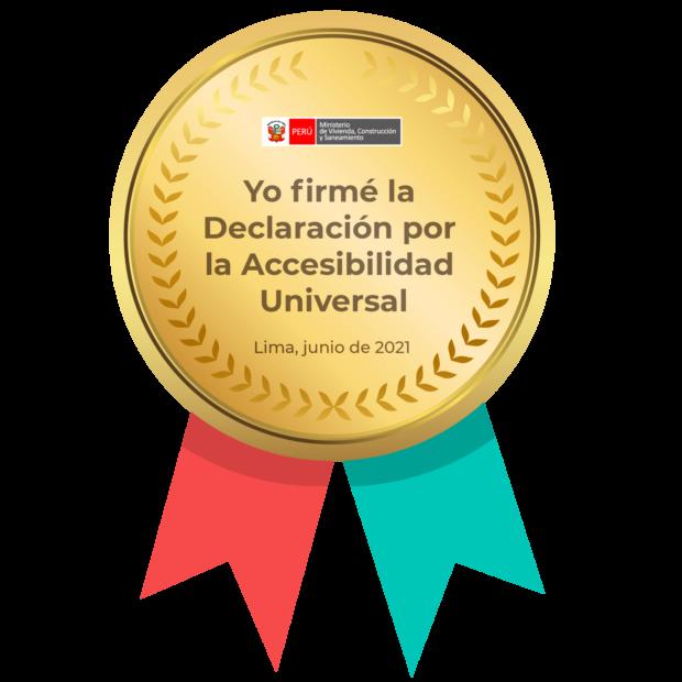 insignia que dice haber firmado la declaración por la accesibilidad universal